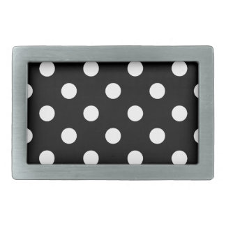 Black and White Polka Dots Pattern Belt Buckle
