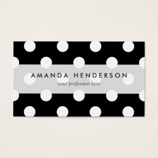 Black and White Polka Dots Pattern Business Card
