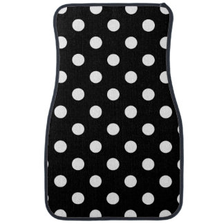 Black and White Polka Dots Pattern Car Mat