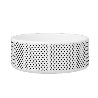 Black and White Polka Dots Pattern Cat Water Bowl