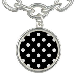 Black and White Polka Dots Pattern Charm Bracelet