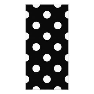 Black and White Polka Dots Pattern Custom Photo Card