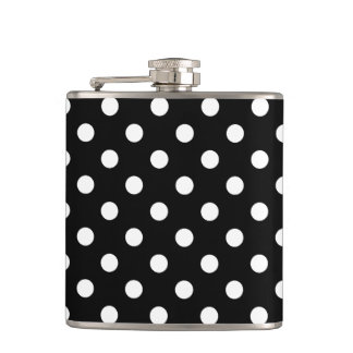 Black and White Polka Dots Pattern Hip Flask