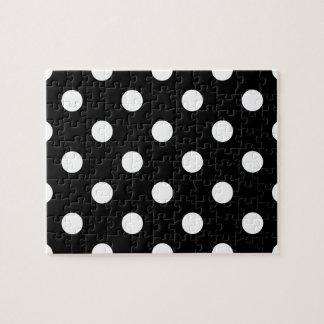 Black and White Polka Dots Pattern Jigsaw Puzzle