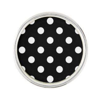 Black and White Polka Dots Pattern Lapel Pin