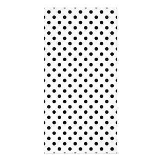 Black and White Polka Dots Pattern Photo Card Template