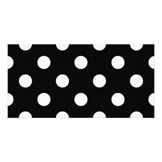 Black and White Polka Dots Pattern Photo Cards