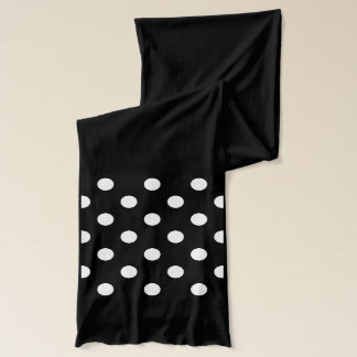 Black and White Polka Dots Pattern Scarf