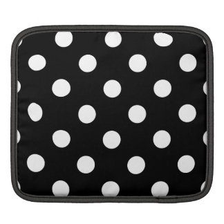 Black and White Polka Dots Pattern Sleeves For iPads