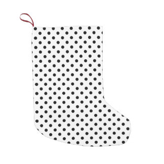 Black and White Polka Dots Pattern Small Christmas Stocking