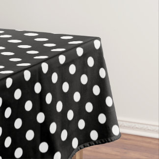 Black and White Polka Dots Pattern Tablecloth