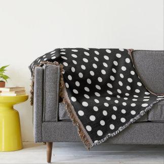Black and White Polka Dots Pattern Throw Blanket