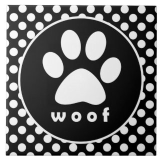Black and White Polka Dots; Paw Print Tile