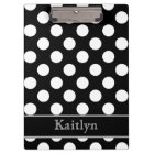 Black and White Polka Dots Personalized Clipboard