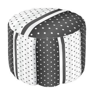Black and White Polka Dots Pouf