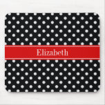 Black and White Polka Dots Red Name Monogram Mouse Pad