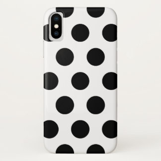 Black and White Polka Dots Retro Pattern iPhone X Case