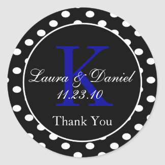 Black and White Polka Dots Thank You Round Sticker