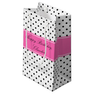 Black and White Polka Dots with Hot Pink Birthday Small Gift Bag