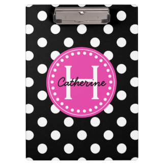 Black and White Polka Dots With Pink Monogram Clipboard