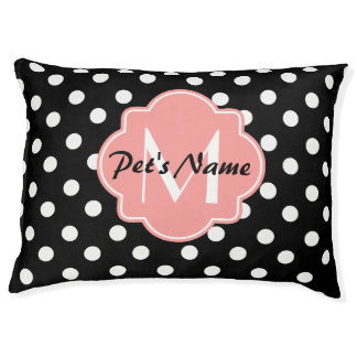 Black and White Polka Dots with Pink Monogram Large Dog Bed