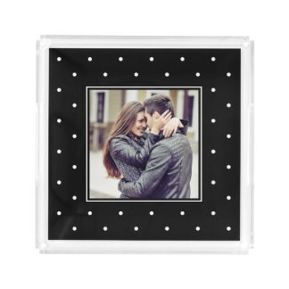 Black and White Polka Dots with your Photo Serving Tray