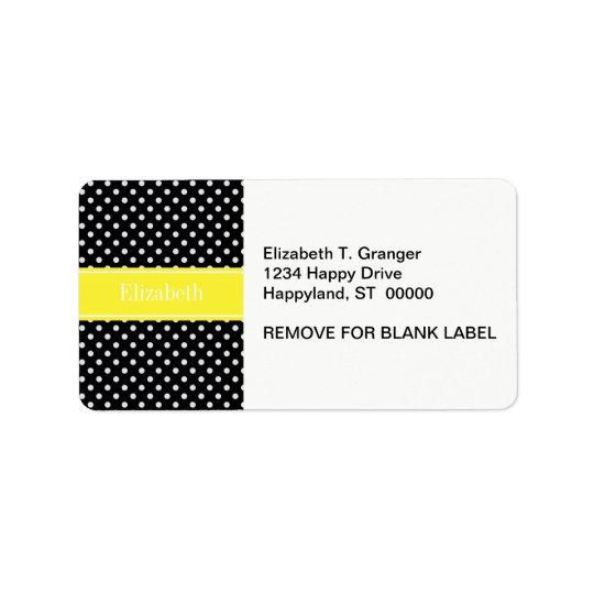 Black and White Polka Dots Yellow Name Monogram Label