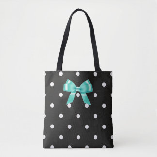 Black and White Polka Dotted Tote Bag