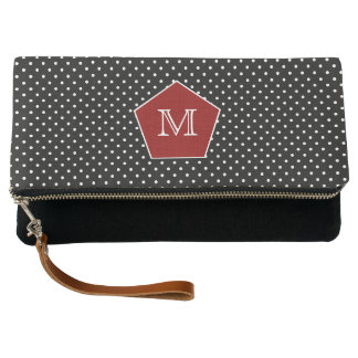 Black and White Polka Monogram Clutch