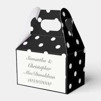 Black and white polkadot pattern wedding favor box