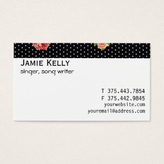Black and White Polkadot Rose Pattern Business Card
