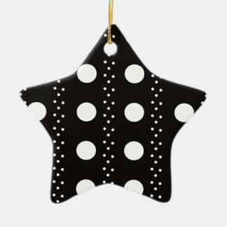 Black and White Polkadots Ceramic Star Ornament