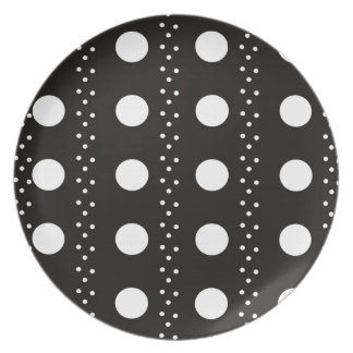 Black and White Polkadots Dinner Plate