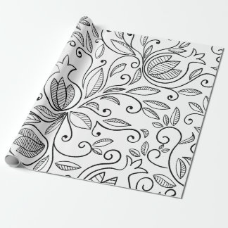 Black and White Pomegranate Wrapping Paper