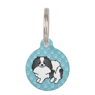 Black And White Pomeranian Dog And Pet's Info Pet Tag