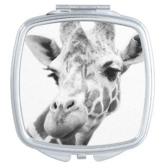Black and white portrait of a giraffe makeup mirror