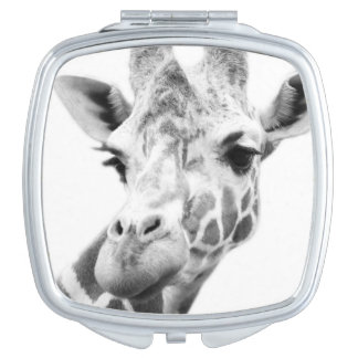 Black and white portrait of a giraffe travel mirrors