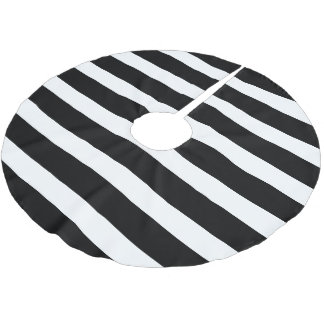 Black and White Preppy Stripes Brushed Polyester Tree Skirt