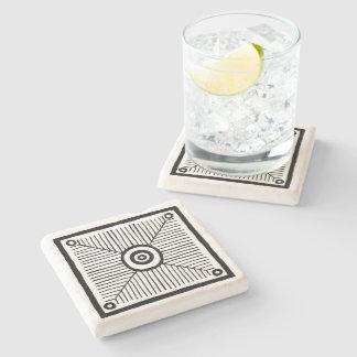 Black and White Primitive Line Pattern Stone Coaster