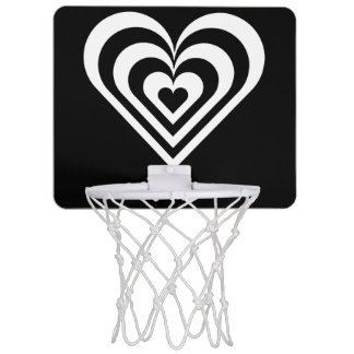 black and white pulsating zebra heart love mini basketball backboard
