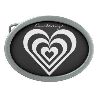 black and white pulsating zebra heart Thunder_Cove Oval Belt Buckle