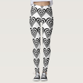 black and white pulsating zebra hearts love leggings