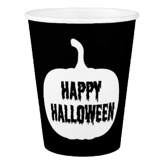 Black And White Pumpkin Happy Halloween Paper Cup