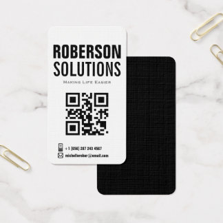 black and white qr code on bold design business card