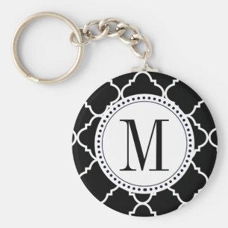 black and white quatrefoil basic round button keychain