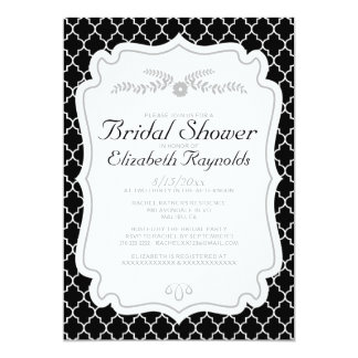 Black And White Quatrefoil Bridal Shower Invites