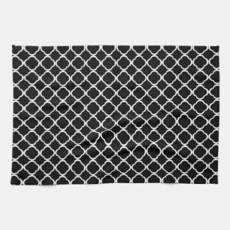 Black and White Quatrefoil Floral Clover Pattern Kitchen Towel