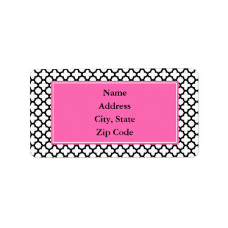 Black and White Quatrefoil Label