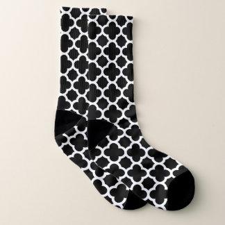 Black and White Quatrefoil Pattern Socks