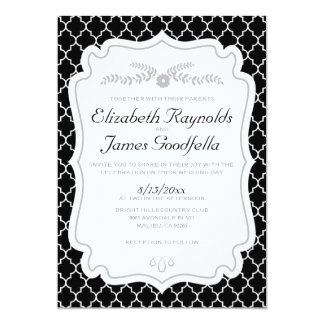Black And White Quatrefoil Wedding Invitations